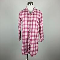 Talbots XS Flannel Shirt Button Up Ruffle Front Pink Red Plaid 3/4 Sleeve Cotton