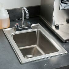 Stainless Steel Drop In Sink Commercial Hand Wash Bar Gooseneck Faucet 10x14x5