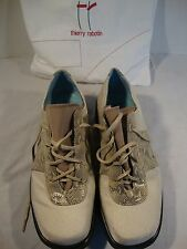 Womens Thierry Rabotin Shoes White Snake Leather Size 37 1/2, 7 U.S Lace