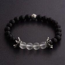 8mm Charm Men's Onyx Natural Gemstone Crown Handmade Stretchable Bracelets