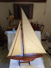 "Vintage Large 38""Tall Model of Endeavor Yacht Wood Sailboat w/Stand Very Nice"