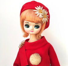 Vintage Big Eye Sakura Pose Doll Japan 1960's Cloth Mod Dress Brooch Bradley