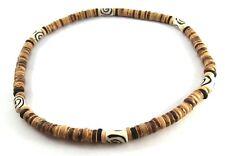 Brown coconut men necklace wooden beads surfer choker beachwear white sea island