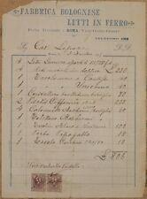FATTURA FABBRICA BOLOGNESE LETTI IN FERRO ROMA 1905 LETTI INVOICE MOBILI BEDS