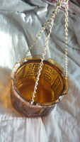 Vintage Amber Glass HANGING CHAIN LARGE DEEP ASHTRAY W/RAISED RELIEF