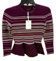 Ted Baker London Leytina Striped Peplum Burgundy Sweater Sz Medium TB 3  NWT
