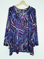 PRINT FUSION purple multicoloured stretchy beaded paisley blouse top size L 277