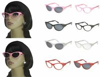 Cat Eye Sunglasses Rhinestone 50s Retro Vintage Style Womens Glasses Colors