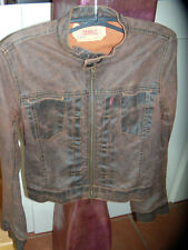 Levi's Biker Jacke Jeansjacke  Leder Look Denim  braun S 34 36 38  neuw