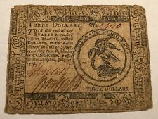 Colonial Continental Currency $3 note July 22, 1776. serial 54120 #rr10
