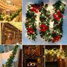 2.7M Pre Lit Christmas Garland with Lights Door Wreath Xmas Fireplace DIY Decor