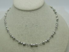 """Vintage 1980's Silver Tone Beaded Necklace, 22"""", Metal Beads"""