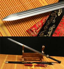 BLACK SAYA HAS DRAGON 1060 CARBON STEEL SHARP CHINESE HAN SWORD 汉剑