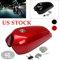 9L Motorcycle Cafe Racer Vintage Fuel Gas Tank W/Cap Switch Universal