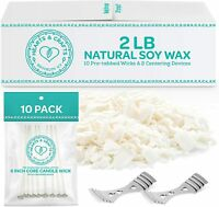 2-lb. Soy Wax Flakes with 10 Pre-Waxed Wicks, 2 Centering Devices
