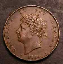 RARE 1826 HALFPENNY REVERSE B RAISED LINE IN SALTIRE DOUBLE DIGITS IN DATE VF+