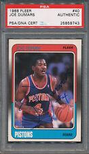 1988/89 Fleer #40 Joe Dumars PSA/DNA Certified Authentic Auto Autograph *9743
