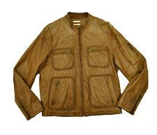 Wilsons Leather Four Pocket Moto Jacket Med Light Brown Tan Military Cafe Racer