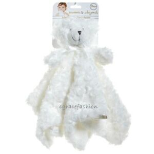 Blankets & and Beyond Baby Layette White Fur Rosette Security Nunu Bear Lovey