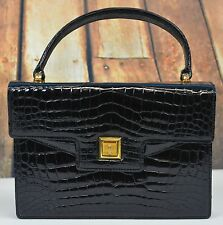GUCCI Vintage Classic Black Crocodile Top Handle Handbag Evening Italy Patent