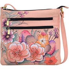 ANNA by Anuschka Hand Painted Medium Organizer Cross-Body Bag NEW