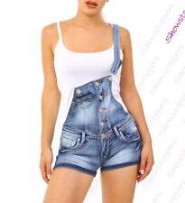 Womens Dungaree Shorts Denim Short Dungarees Size 4 6 8 10 12 14 Denim Blue