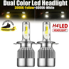 H4 55W LED Headlight Kit Dual Color Change Bulbs 6000K White + 3000K Yellow Lamp