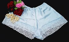 Blue Satin French Knickers Lace Underwear Sissy Silk Shiny Size 14/16   (01288)