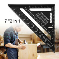 Black 7'' Aluminum Alloy Speed Square Quick Roofing Rafter Triangle Ruler Guide