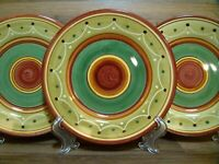 "SET OF 3 - PIER 1 - ETRUSCO - EARTHENWARE - 8"" SALAD PLATES - ITALY"