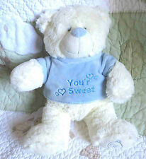 KellyToy White Fluffy Stuffed Teddy Bear w Blue Plush You're Sweet Shirt Toy EUC