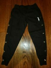 Justice girls joggers black size 6 Euc tie waist 00004000  and snap detailing and pockets