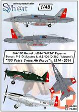 Syhart Decals 1/48 100 YEARS OF THE SWISS AIR FORCE A/F-18 M.S.406 & P-51D