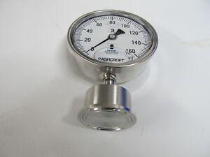 "Pressure Gauge,0-160,1.5""TC,3.5""F,Lower Mount, Liquid Filled, SS, Ashcroft 1032"