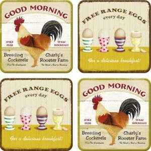 Good Morning Rooster/ Eggs set of 4 drinks coasters  (na)  ++ REDUCED TO CLEAR++