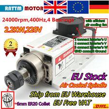 〖UK&EU〗 Square 2.2KW 220V Air Cooling ER20 Spindle Motor CNC Milling Engraving