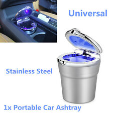 Silver Stainless Steel Blue LED Light Home Car Cigarette Ashtray Smokeless Stand