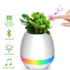 Bluetooth Music Speaker Smart Flower Pot Sing Plant Vase LED Night Lamp (BLUE)