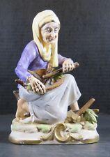 Vintage Ceramic Oriental Asain Woman Gathering Wood Figurine Statue