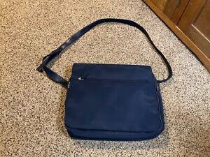 "Pre Owned Messenger Bag. Navy.  Polyester, Vinyl.  13"" x 10"" x 2.5"""