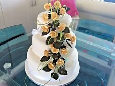 WEDDING CAKE SUGAR 18 TRAILING ROSES IN DUSTY GOLD,OTHER COLOURS AVAILABLE,