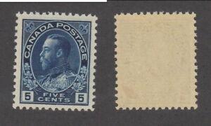 Mint Canada 5 Cent Indigo KGV Admiral Stamp #111a (Lot #18638)