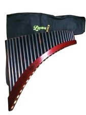 Black Professional Lupaca Pan Flute 24 Pipes Burnt Bamboo