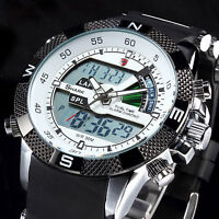 SHARK Brand Luxury Men LCD Digital Rubber Date Day Sport Army Quartz Wrist Watch