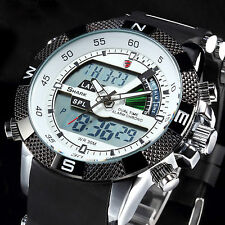 SHARK Fashion Mens LCD Digital Rubber Date Day Sport Army Quartz Wrist Watch New