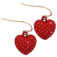 Small Red Crystal Pave Heart Dangle Hook Earrings Jewelry Valentine's Day Gift