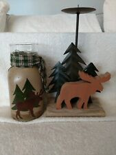 Moose Lodge Candle Holders Lot Of 2