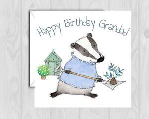 Grandad Birthday Card badger Garden gardening with envelope papa grampa grampy