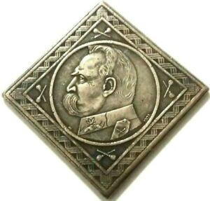 10 ZLOTYCH - POLAND 1934 - J PILSUDSKI - SOUVENIR COIN MADE OF SILVERED METAL