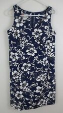 12 Hilo Hattie women's fitted Hawaiian Dress blue floral